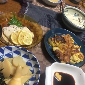 玉ねぎの衣焼き、若竹煮、ヨーグルトサラダチキンのカルパッチョ、茄子と素麺のお味噌汁