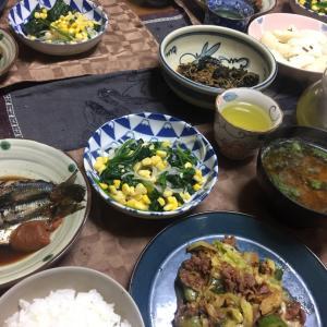 回鍋肉、春雨とほうれん草、コーンの中華和え、いわしの梅煮