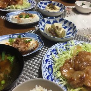豚肉生姜焼き、冷奴、高野豆腐と蕗の炊き合わせ
