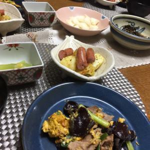 生キクラゲと豚肉、卵の炒め物、蕗の芥子酢味噌、ジャーマンポテト