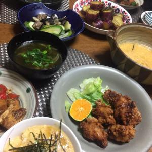 鶏の唐揚げ、茄子、ピーマンと厚揚げの味噌炒め、とろろご飯