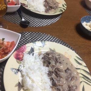 ビーフストロガノフ、トマトのサラダ