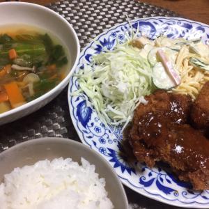 ヘレカツ、野菜スープ
