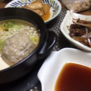 肉団子鍋、鰤大根、牛肉と牛蒡、人参のきんぴら