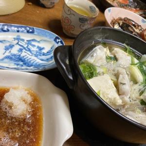 カワハギの小鍋仕立て、鰯の梅煮