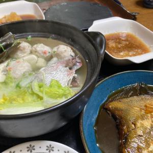 鯛と鶏つくねの小鍋仕立て、カレイの煮付け