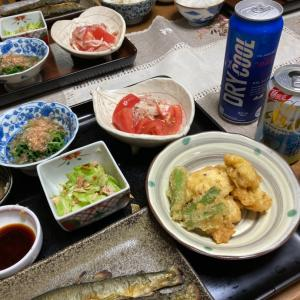 鮎の塩焼き、鱧の天ぷら、トマトと生ハムのマリネ他
