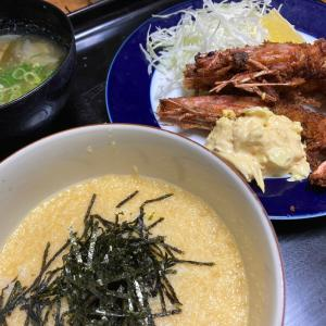 海老フライ、とろろご飯、ワカメと玉ねぎのお味噌汁