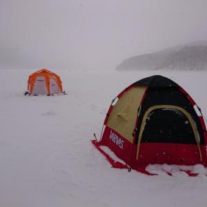 2021岩洞湖氷上ワカサギ初戦