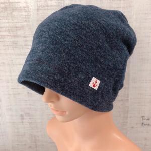秋冬♪おしゃれで可愛いハンドメイド医療用ケア帽子《ネイビー》ニット帽・ビーニー