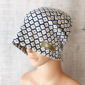 おしゃれで可愛いハンドメイド医療用ケア帽子 《お花x鳥のポイント》 綿ニット帽子