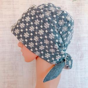 おしゃれで可愛いハンドメイド医療用バンダナ帽子 〈刺繍 小花総柄〉
