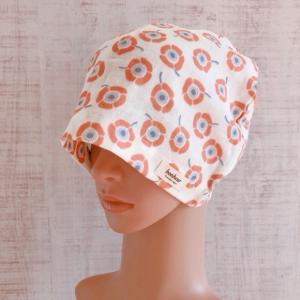 おしゃれで可愛いハンドメイド医療用ケア帽子《 アネモネxダブルガーゼ》 医療用帽子