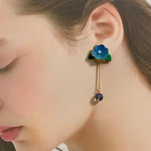 新作 「青いお花とアクアオーラ のピアス」