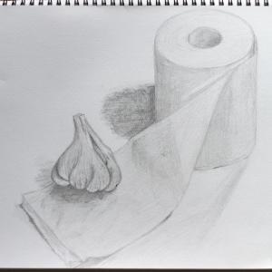 デッサン80「トイレットペーパーとにんにく」  #高松で一番高い果物屋さんの...