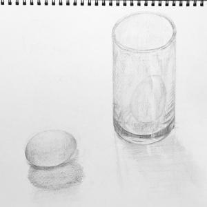 デッサン88「たまごとグラス」  #Jagabee オリーブオイルと塩味