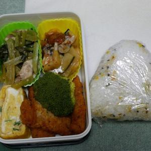 チキンスティックのお弁当&焼き塩サバのお夕飯