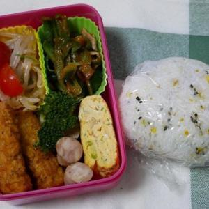 チキンスティックのお弁当&塩サバのお夕飯