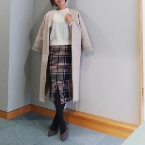 【coordinate】レトロチェックなタイトスカートで足長効果◎なコーデ