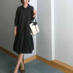 【coordinate】ふ~んわりな黒のAラインシャツワンピースコーデ