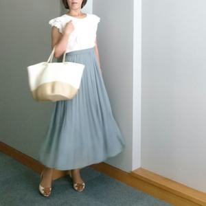 【coordinate】UNIQLOくすみグリーンのプリーツスカートでレディな夏コーデ