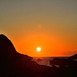 足摺岬の日の出 と 白山洞門