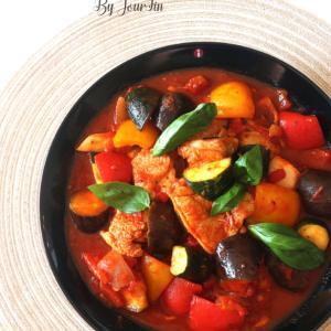 【Cooking】 夏野菜でチキンのトマト煮込み♪