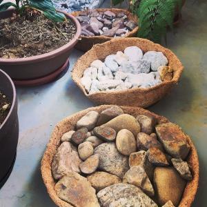 小さな石をトレイに乗せて、ベランダの飛び石にする。茶室を作るプロジェクト