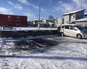 駐車場雪かき完了
