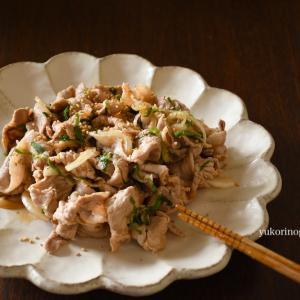 豚コマで簡単わさび醤油和え(淡路島の玉ねぎスライスと薬味も)