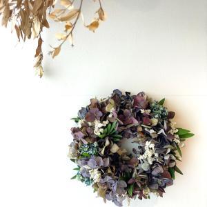 大人カラーの紫陽花リース作りました