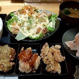 3種類のタレの唐揚げ三昧、阿波尾鶏たたき、からあげサラダ等の神戸COCCO御膳 神戸市中央区三宮町1丁目(さんプラザ地下1階) 神戸COCCO