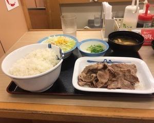10月10日夕食(松屋 豚肩ロースの豚焼肉定食(お肉1.5倍増量))