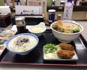 10月11日夕食(ファミリー食堂山田うどん食堂 秋を感じる山田のおすすめセット)