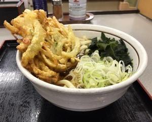 10月17日夕食(ファミリー食堂山田うどん食堂 天ぷらうどん)