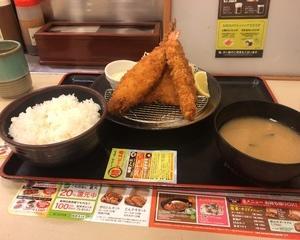 10月18日夕食(松のや 海鮮3種盛り定食)