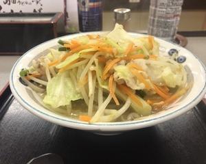 10月18日夕食(ファミリー食堂 山田うどん食堂 野菜たっぷりタンメン)