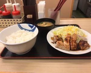 11月19日夕食(松屋 厚切り豚テキ定食)