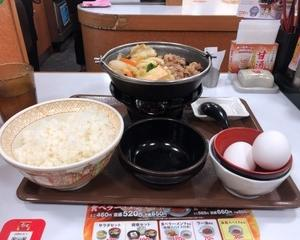 12月12日夕食(すき家 牛すき鍋定食)