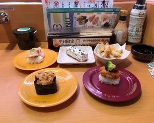 スシロー 匠のカツカレイすし・ピリ辛中華風甘えび軍艦・蒸しほたて酢みそ・きびなご天ぷら・チョコミントアイスケーキ