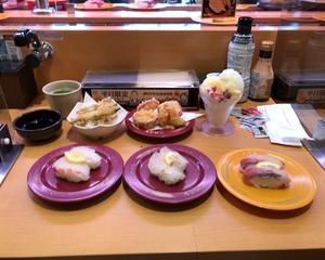 スシロー ひらまさ塩レモン・はまち塩レモン・たい塩レモン・きびなご天ぷら・こだわりのさつま芋天ぷら・白くまパフェ