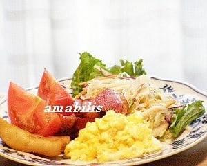 スクランブルエッグと野菜のセット