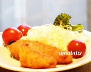 チキンのささみフライと野菜のセット