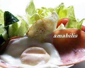 ハムエッグと野菜のセット