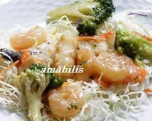 シーフードとブロッコリーの中華風餡かけセット
