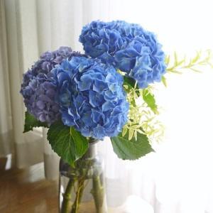 青の紫陽花のアレンジ☆和と雨の雫