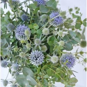 そろそろ生花☆残暑にブルーとグリーンのの花束