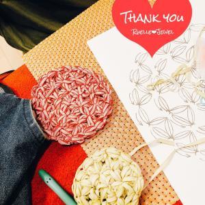 リフ編みのコースター