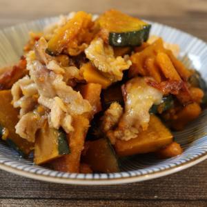 【簡単!副菜】パパっと炒めてすぐ美味しい♪かぼちゃと豚コマのスイチリ炒め