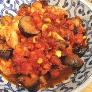 鶏肉と茄子のトマト煮込み&カボチャの煮物~\(^^)/